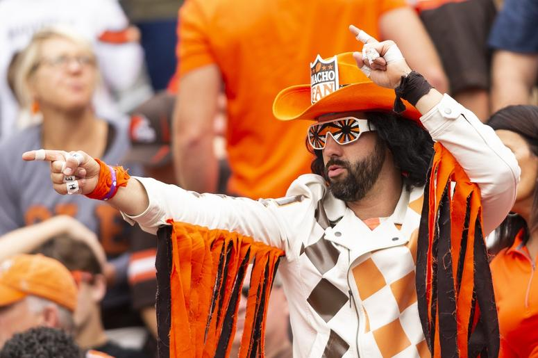 A Cleveland Browns fan cheers during the third quarter against the Tennessee Titans at FirstEnergy Stadium.