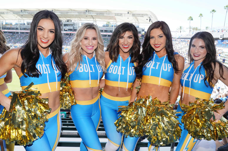 Los Angeles Chargers girls cheerleaders pose during the game against the Indianapolis Colts at Dignity Health Sports Park.