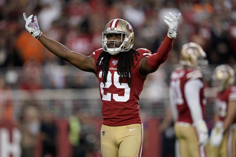 San Francisco 49ers cornerback Richard Sherman (25) encourages the crowd before a play against the Cleveland Browns in the second quarter at Levi's Stadium.