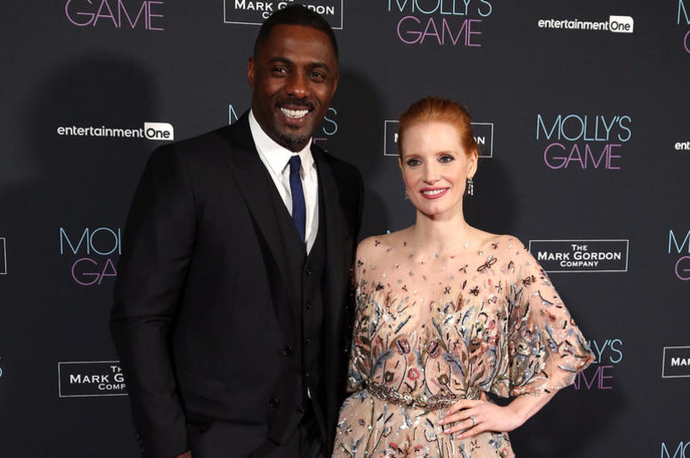 dris Elba and Jessica Chastain attending the UK Premiere of Molly's Game, at Vue West End, Leicester Square, London.