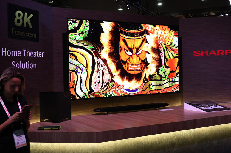 Sharp 8K Ecosystem Home Theatre Solution is displayed during the 2019 Consumer Electronics Show (CES) at the Las Vegas Convention Center on Tuesday, Jan. 8, 2019, in Las Vegas, Nevada.