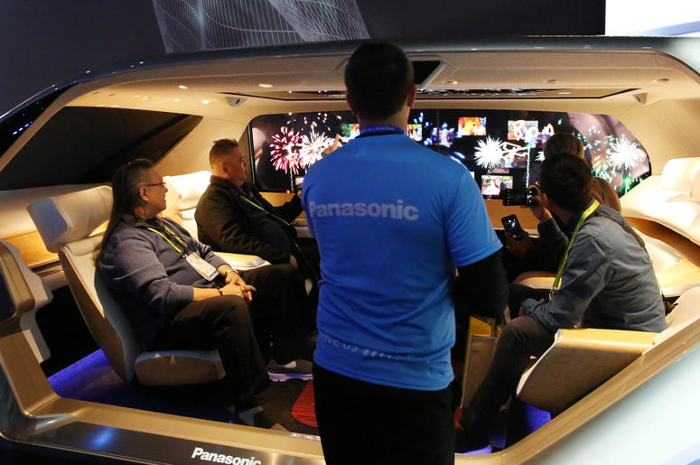 People checkout the Panasonic's SPACe_L Autonomous Cabin during the 2019 Consumer Electronics Show (CES) at the Las Vegas Convention Center on Tuesday, Jan. 8, 2019, in Las Vegas, Nevada.