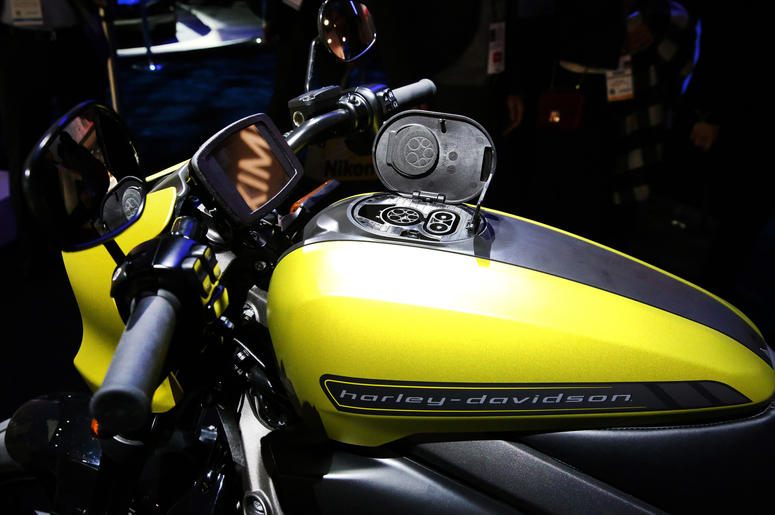 A Harley-Davidson LiveWire Connected by Panasonic is displayed at the 2019 Consumer Electronics Show (CES) at the Las Vegas Convention Center on Tuesday, Jan. 8, 2019, in Las Vegas, Nevada.
