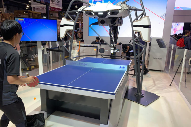 The Omron artificial intelligence-powered FORPHEUS robot, which acts as a table tennis tutor, which made its debut at the Consumer Electronics Show (CES) in Las Vegas.