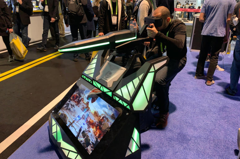 Scorpion, a mounted machine gun with 3D gaming experience made by VR Leo USA for the virtual reality game Black Shield, at the Consumer Electronics Show (CES) in Las Vegas.