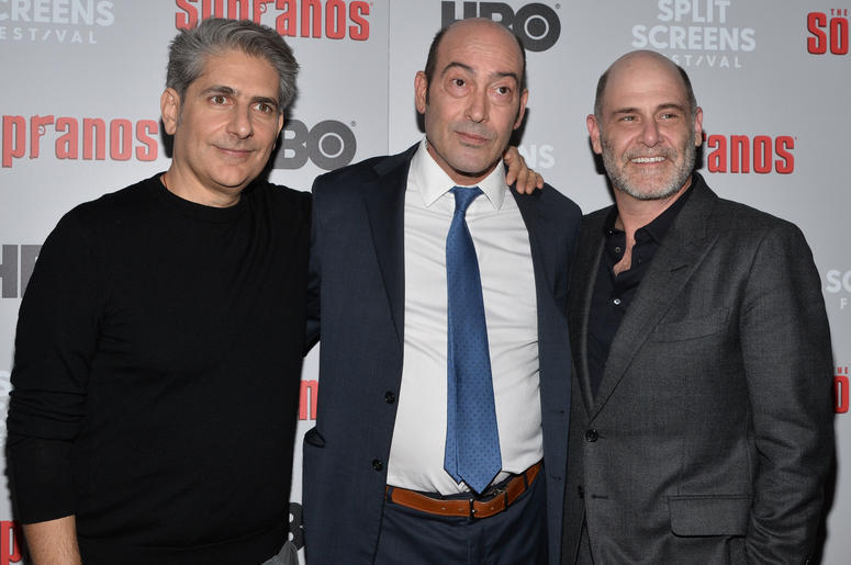 Michael Imperiioli, John Ventimiglia and Executive Producer/writer Matthew Weiner attend The Sopranos 20th Anniversary Red carpet and Panel Discussion during the Sopranos Film Festival at SVA Theatre in New York, NY,