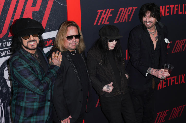 Vince Neil, Nikki Sixx, Mick Mars and Tommy Lee of Motley Crue at Los Angeles Premiere Of Netflix's 'The Dirt' held at The ArcLight Hollywood - Cinerama Dome on March 18, 2019 in Hollywood, CA