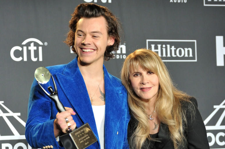 L-R: Harry Styles and Stevie Nicks in the press room at the 2019 Rock and Roll Hall of Fame Induction Ceremony at the Barclays Center in Brooklyn, NY on March 29, 2019
