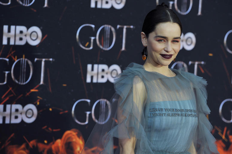 "Emilia Clarke attends HBO's ""Game of Thrones"" eight and final season premiere at Radio City Music Hall in New York, NY, April 3, 2019."