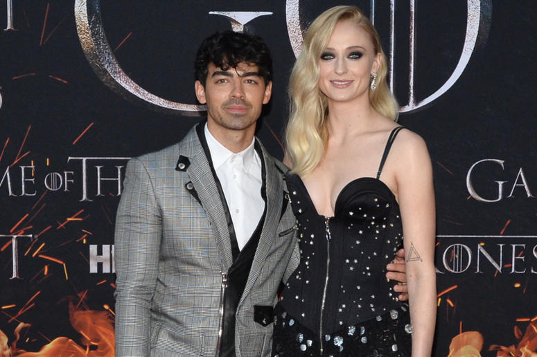 "(L-R) Joe Jonas and Sophie Turner attend HBO's ""Game of Thrones"" eight and final season premiere at Radio City Music Hall in New York, NY, April 3, 2019."