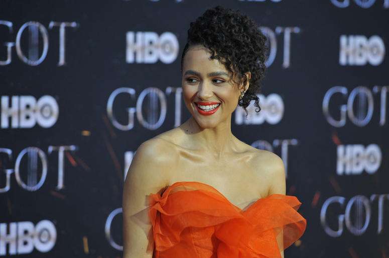"Nathalie Emmanuel attends HBO's ""Game of Thrones"" eight and final season premiere at Radio City Music Hall in New York, NY, April 3, 2019. ("