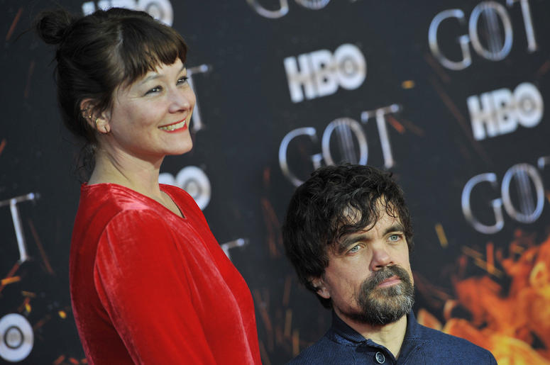 "(L-R) Erica Schmidt and Peter Dinklage attend HBO's ""Game of Thrones"" eight and final season premiere at Radio City Music Hall in New York, NY, April 3, 2019."