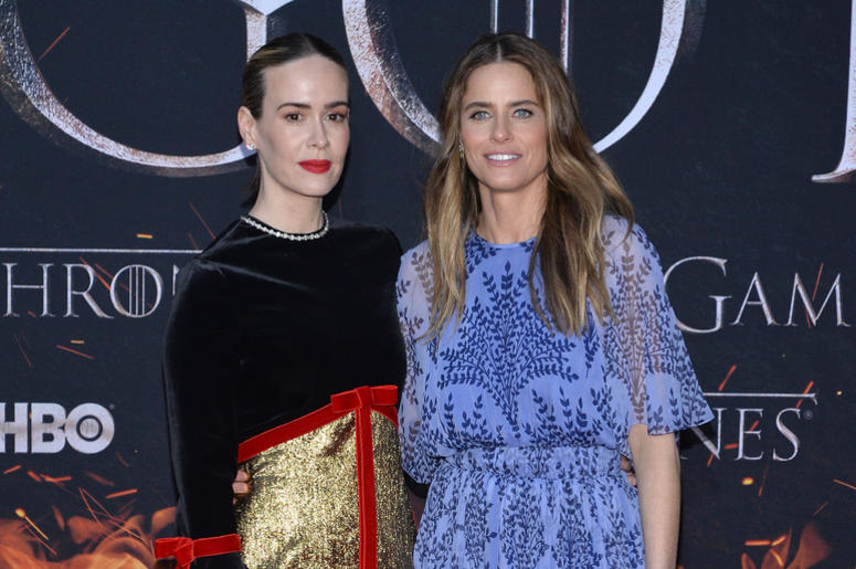 "(L-R) Sarah Paulson and Amanda Peet attend HBO's ""Game of Thrones"" eight and final season premiere at Radio City Music Hall in New York, NY, April 3, 2019."