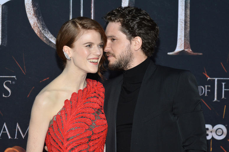 "(L-R) Rose Leslie and Kit Harington attend HBO's ""Game of Thrones"" eight and final season premiere at Radio City Music Hall in New York, NY, April 3, 2019."