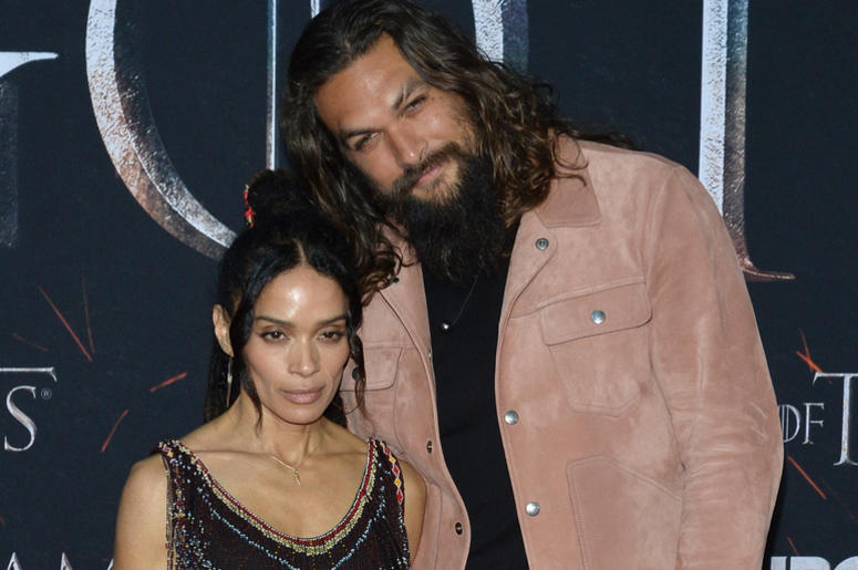 "(L-R) Lisa Bonet and Jason Momoa attend HBO's ""Game of Thrones"" eight and final season premiere at Radio City Music Hall in New York, NY, April 3, 2019"