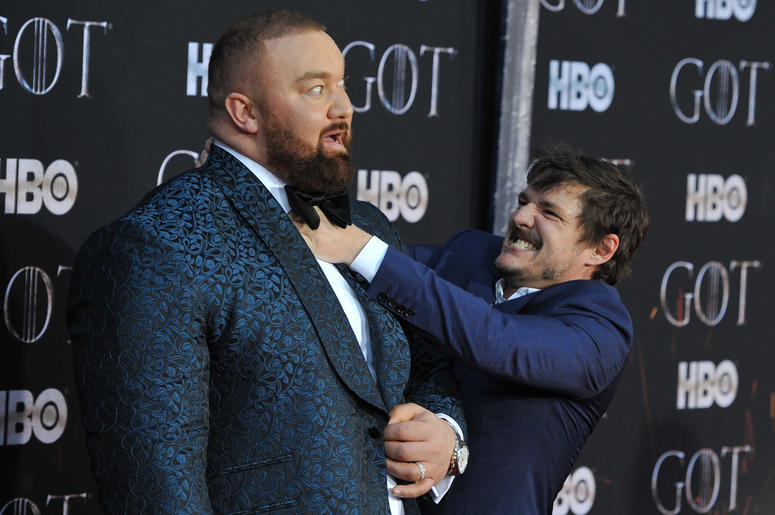 "(L-R) Hafþor Julius Bjornsson and Pedro Pascal attend HBO's ""Game of Thrones"" eight and final season premiere at Radio City Music Hall in New York, NY, April 3, 2019."