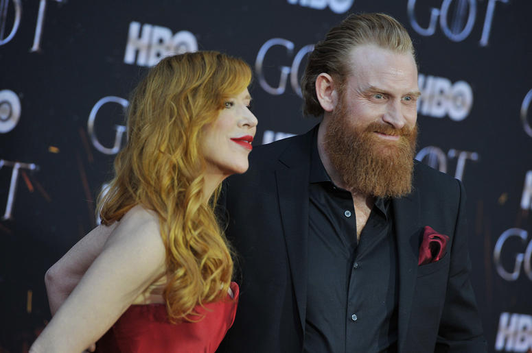 "(L-R) Gry Molvær Hivju and Kristofer Hivju attend HBO's ""Game of Thrones"" eight and final season premiere at Radio City Music Hall in New York, NY, April 3, 2019."