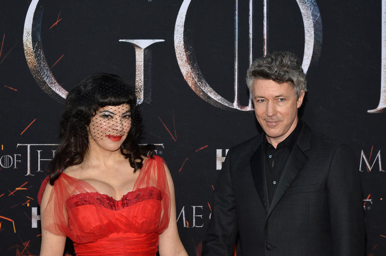 "(L-R) Camille O'Sullivan and Aidan Gillen attend HBO's ""Game of Thrones"" eight and final season premiere at Radio City Music Hall in New York, NY, April 3, 2019."