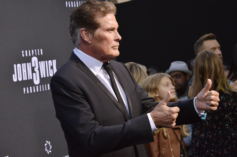"David Hasselhoff arrives at Lionsgate's ""John Wick: Chapter 3 - Parabellum"" Los Angeles Special Screening held at the TCL Chinese Theater in Hollywood, CA on Wednesday, May 15, 2019."