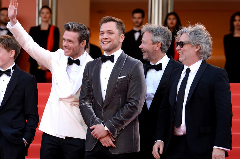 Richard Madden (centre) and Taron Egerton and director Dexter Fletcher (right) attending the Rocketman premiere, held at the Grand Theatre Lumiere during the 72nd Cannes Film Festival.
