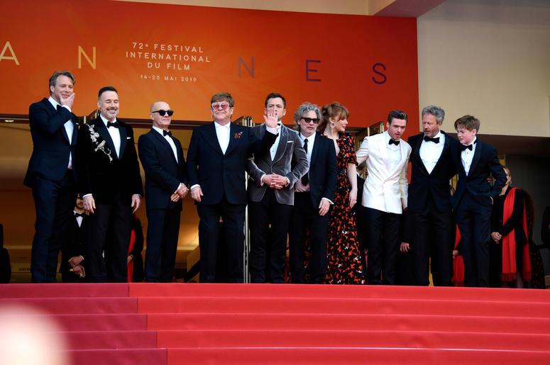 72nd Cannes Film Festival 2019, Red Carpet Rocketman. Pictured : Elton John, David Furnish, Taron Egerton, Richard Madden, Bernie Taupin, Director Dexter Fletcher, Kit Connor