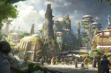 This rendering released by Disney and Lucasfilm shows the planned Black Spire Outpost, a village on the planet of Batuu that will be part of a 14-acre expansion project called Star Wars: Galaxy's Edge, set to open this summer at the Disneyland Resort.