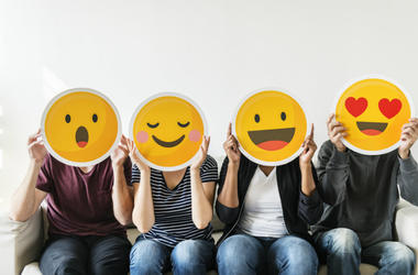 people with emoji faces