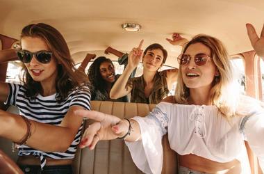 road trip girls in car