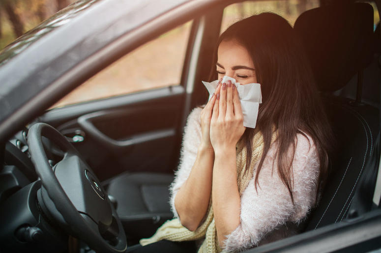 Blowing Nose In Car