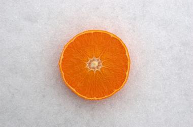 orange half on snow