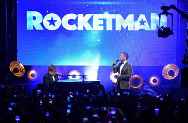 "Sir Elton John and Taron Egerton perform during the ""Rocketman"" Gala Party during the 72nd annual Cannes Film Festival"