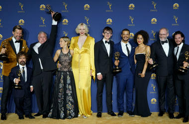 """Cast members of """"Game of Thrones"""" pose for a photo after winning the award of outstanding drama series during the 70th Primetime Emmy Awards in Los Angeles"""
