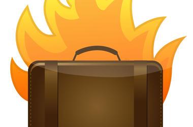 flaming luggage