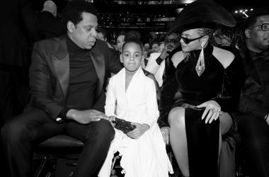 Jay-Z, Blue Ivy Carter and recording artist Beyonce attend the 60th Annual GRAMMY Awards at Madison Square Garden on January 28, 2018 in New York City.