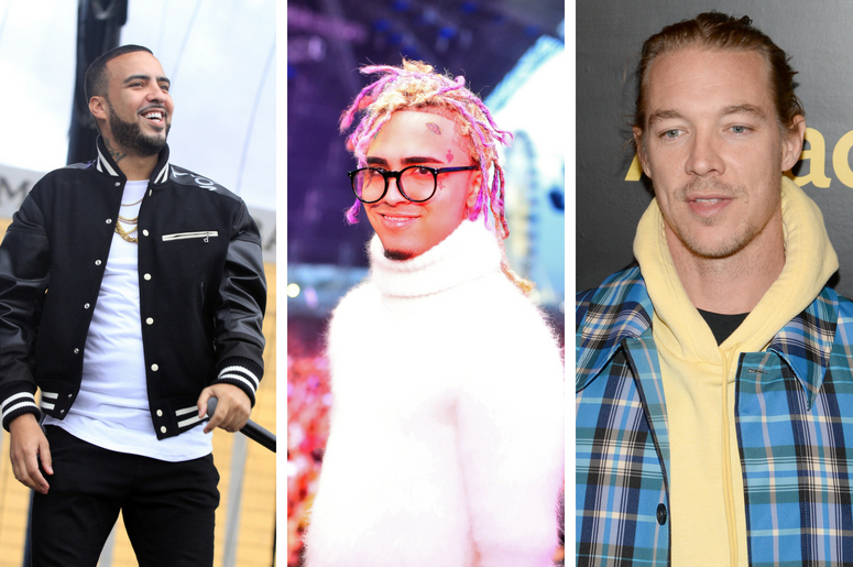 French Montana performs  in Las Vegas, Nevada / Lil Pump performs during the 2018 Coachella Valley Music and Arts Festival on April 15, 2018 in Indio, California / DJ Diplo attends the 2018 Billboard Power 100 in New York, NY, on January 25, 2018