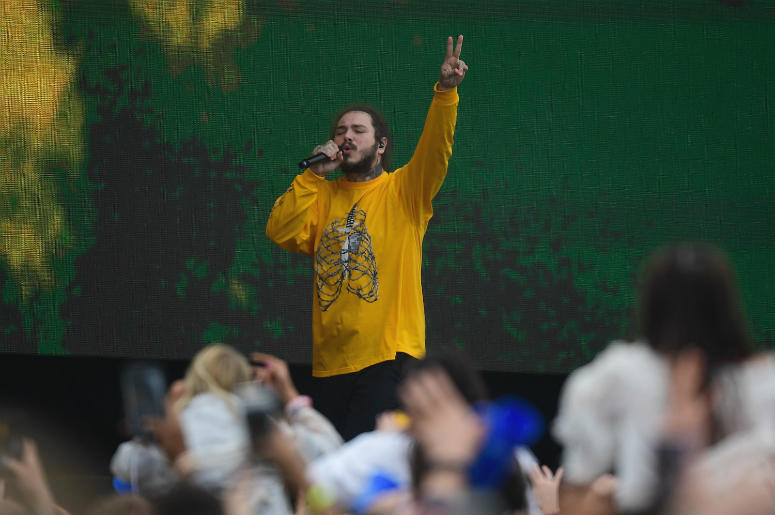 May 19, 2018; Baltimore, MD, USA; American rapper Post Malone performs in the infield prior to the running of the 143rd Preakness Steaks at Pimlico Race Course.