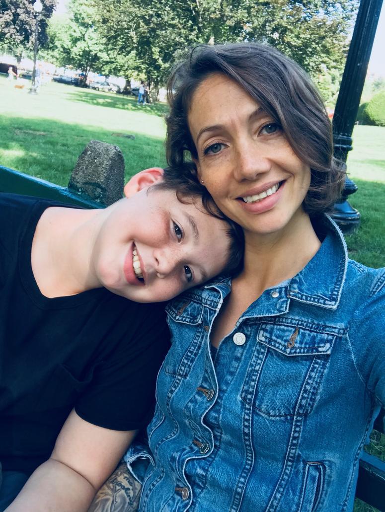 Catie + her son