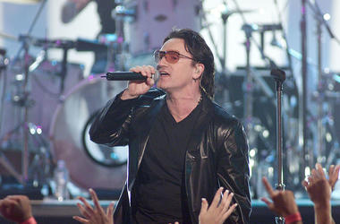 Lead singer of U2, Bono, performs live at the My VH1 Music Awards at the Shrine Auditorium, Thursday, November 30, 2000