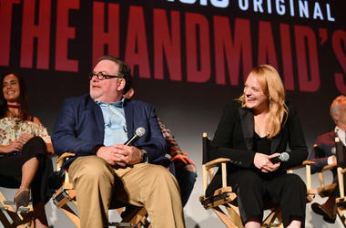"Bruce Miller and Elisabeth Moss speak onstage during ""The Handmaid's Tale"" Hulu finale at The Wilshire Ebell Theatre on July 9, 2018 in Los Angeles, California"