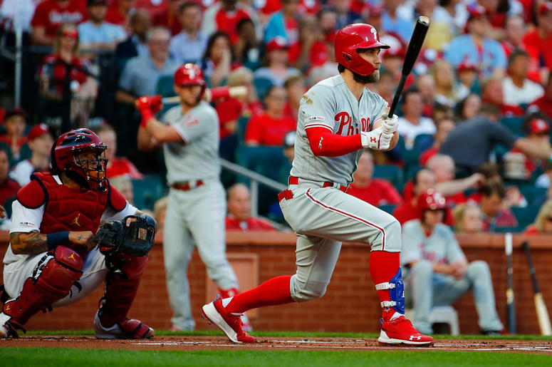 ST. LOUIS, MO - MAY 6: Bryce Harper #3 of the the Philadelphia Phillies hits into a double play in the first inning against the St. Louis Cardinals at Busch Stadium on May 6, 2019 in St. Louis, Missouri.