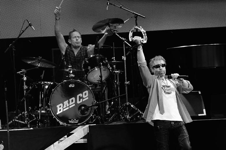Founding members Simon Kirke (drums) and Paul Rodgers (Lead Singer) of Bad Company perform during Joe Walsh & Bad Company One Hell Of A Night Tour - at Perfect Vodka Amphitheatre on May 29, 2016 in West Palm Beach, Florida.