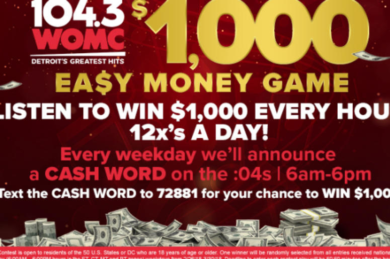 Win $1,000 With The Easy Money Game! | 104 3 WOMC Detroit