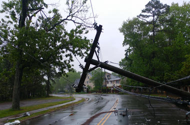Photo of a downed power line after storm.