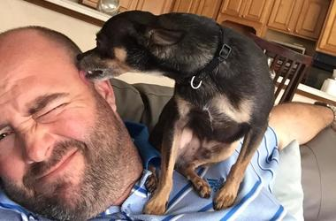 Jay Edwards and his dog Chimi