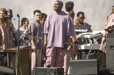 "Kanye West dropped ""Church Clothes"" apparel at his Sunday Service at Coachella."