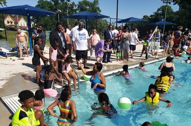 "D.C. residents enjoyed the pool at ""Jump In, DC""."