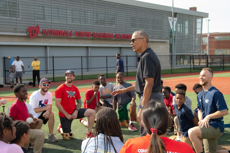 Barack Obama visits Scholar-Athletes at the Washington Nationals Youth Baseball Academy.