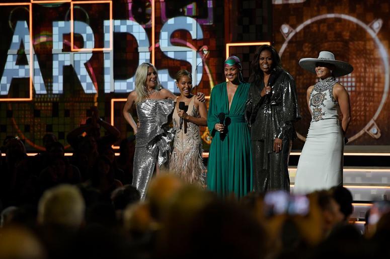 Lady Gaga, Jada Pinkett Smith, host Alicia Keys, Michelle Obama, and Jennifer Lopez speak onstage during the 61st Annual GRAMMY Awards