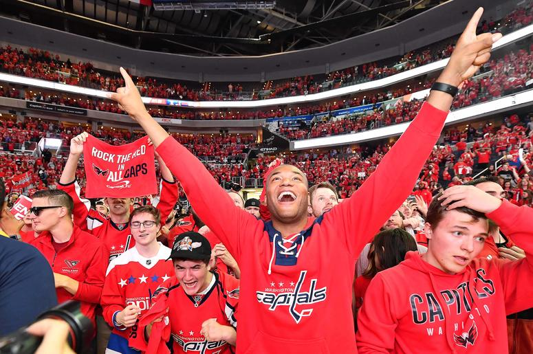 Washington Capitals fans at the watch party for Washington Capitals and Las Vegas Knights at Capital One Arena for game 6 of the Stanley Cup Playoffs