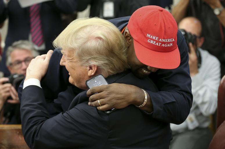 Donald Trump hugs Kanye West